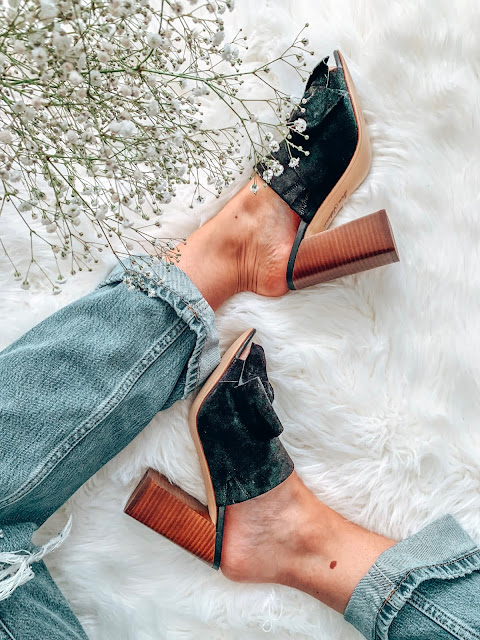 black bow sam edelman mules from summer to fall with dad jeans