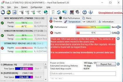Cara Super Cepat Cek kesehatan Hard Disk dengan Hard Disk Sentinel