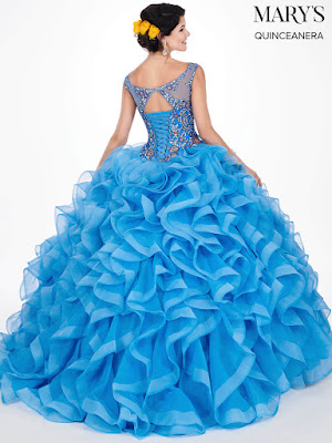 Off The Shoulder Mary's quinceanera Ball Gown Periwinkle/Multi dress back side