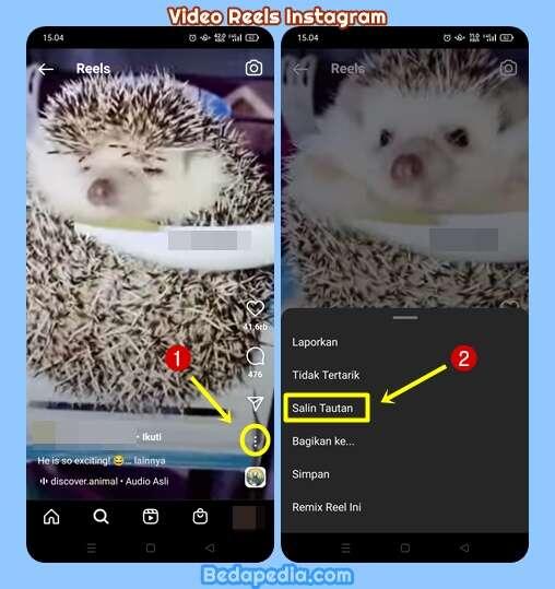 cara copy link video reels instagram