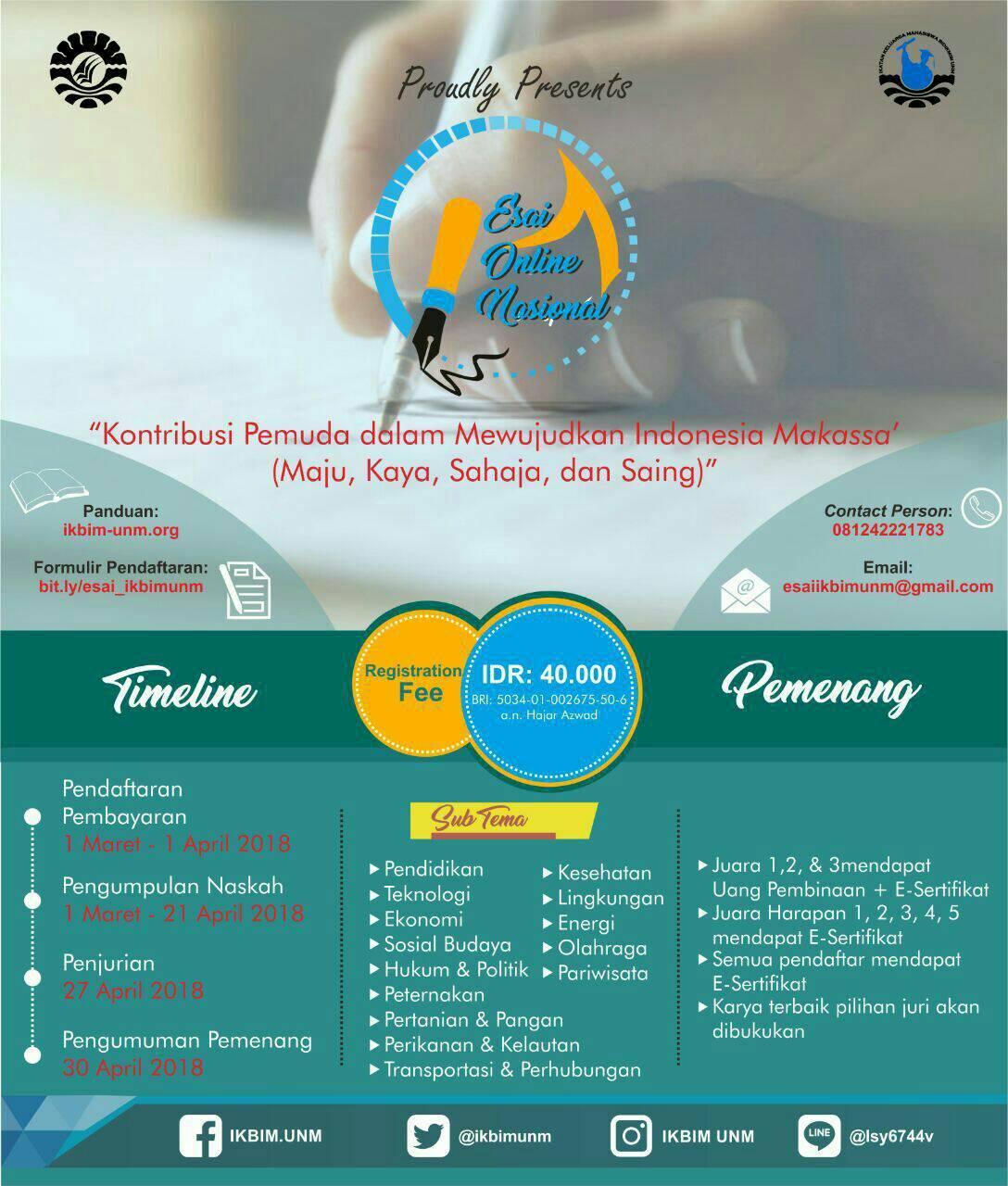 Lomba Menulis Essay Nasional 2018 Di Universitas Negeri Makassar