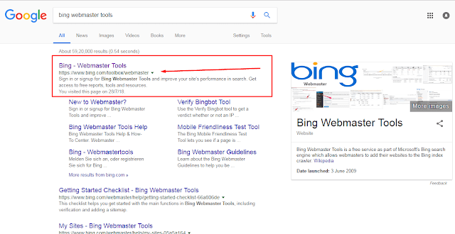how to add url in bing/google