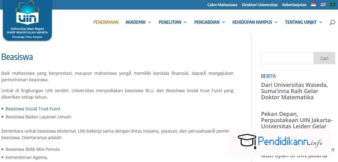 Info Beasiswa UIN Syarif Hidayatullah Jakarta