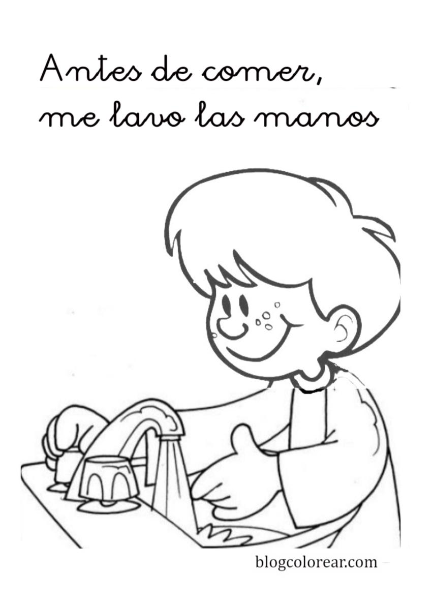 Colorear Lavarse Las Manos Colorear Dibujos Infantiles