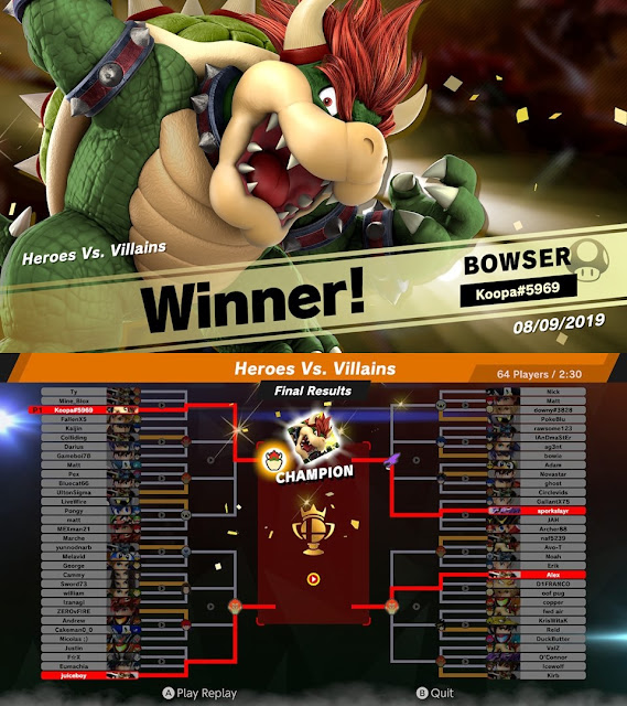 Heroes vs. Villains Super Smash Bros. Ultimate online tourney event Bowser winner champion bracket August 2019