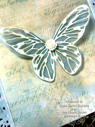 Sizzix Olivia Rose Foliage Wrap Tim Holtz Scribbly Butterfly Wrapped Card for The Funkie Junkie Boutique by Sara Emily Barker 3