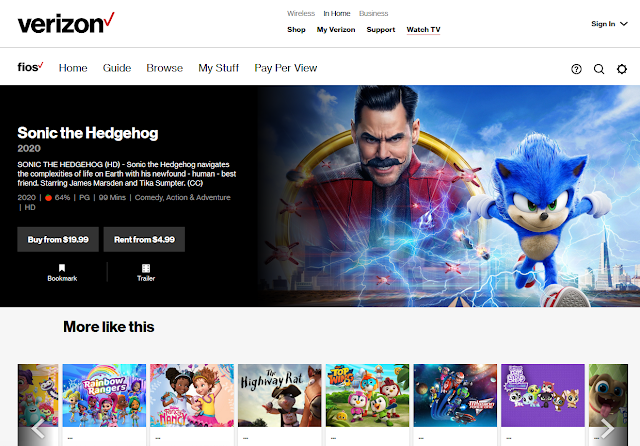 Verizon Fios Sonic the Hedgehog movie buy rent related shows