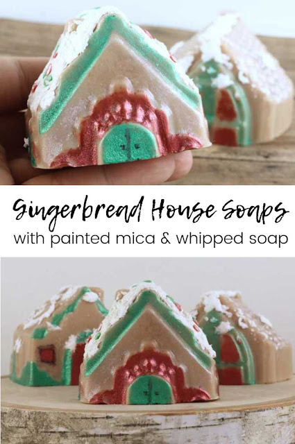 Looking for soap making ideas?  Make this whimsical gingerbread house with melt and pour soap!  Learn how to make your own soap, including whipped soap for icing, for this whimsical gingerbread house  This gingerbread dyi turned out so cute!  This diy soap making projet is fun for idss of all ages.  #soap #soapmaking #gingerbread #houses #gingerbreadhouses