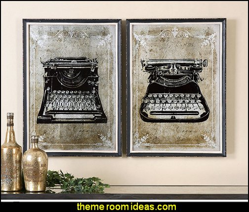 Retro Typewriter Wall Art | Mirrored Industrial Vintage