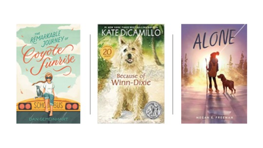 Image of Middle Grade Novels: The Remarkable Journey of Coyote Sunrise, Because of Winn Dixie, and Alone