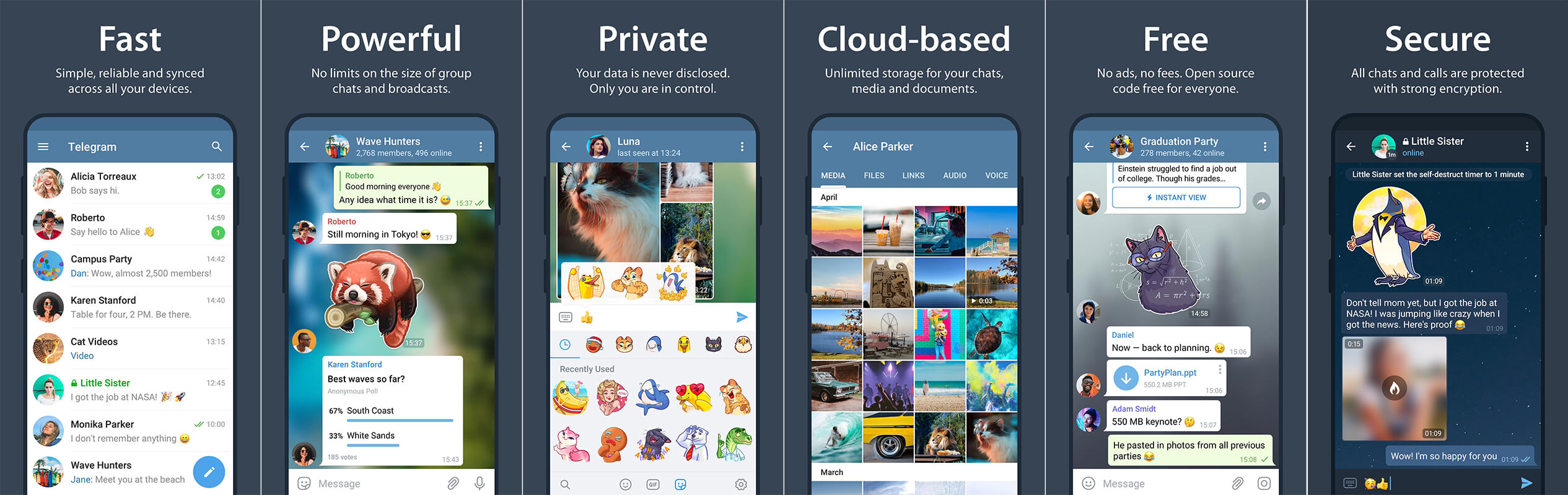 لقطات شاشة تطبيق التيلجرام Telegram