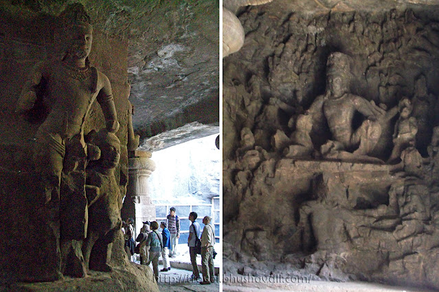 Caves of elephanta sculptures Ravananugraha Shiva