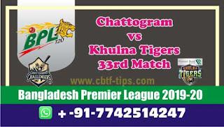 Dream 11 Team Prediction Khulna vs Chattogram 33rd Match BPL T20 Captain & Vice Captain