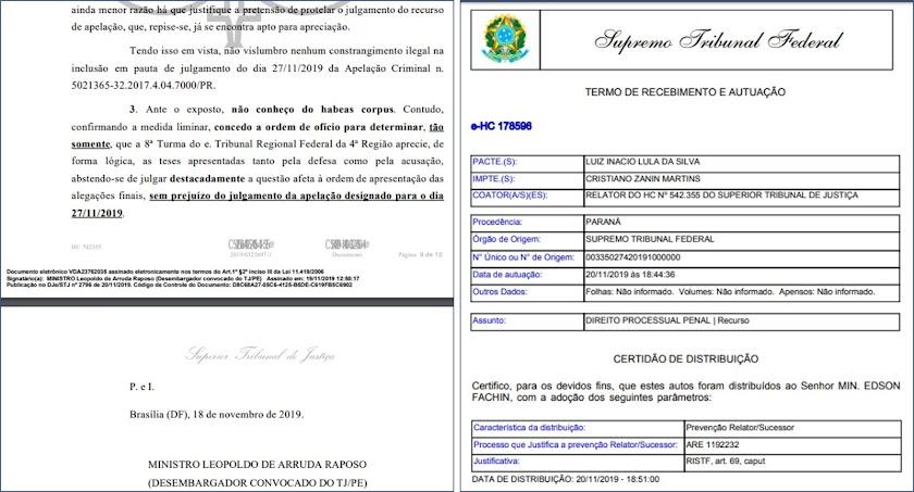 Ministro do STJ senta a caneta em Lula que corre para o STF e cai na mão de Fachin