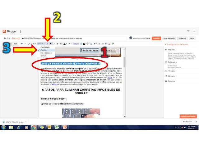 para etiquetar los subtitulos con h3 en blogger solo debes seleccionar el subtitulos con clic sostenido y luego ir a los formatos y seleccionar subtitulo con esto quedara en el código html  como h3