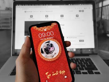 Tạo hình nền phong cách Tết 2021 cho điện thoại