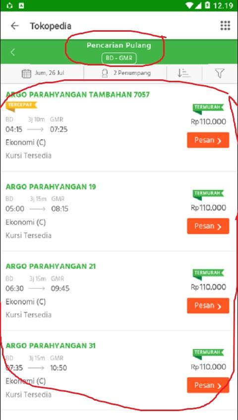 Tiket Kereta Api untuk Melakukan Perjalanan Pulang di Tokopedia