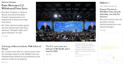 The front-page of the NYT right now shows the development of the framing of Trump s withdrawal from Syria.