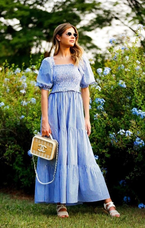 lala rudge vestido listrado estilo camponesa