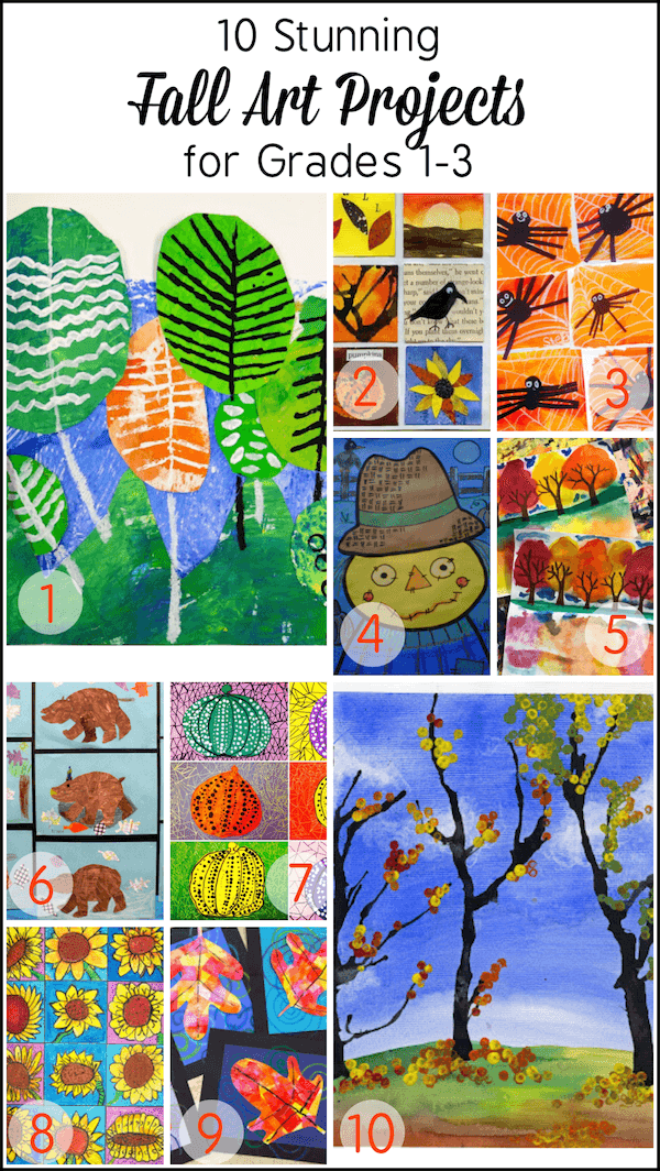 10 Beautiful fall art projects for kids in Grade 1 to 3. These are so gorgeous you'll want to try them all!