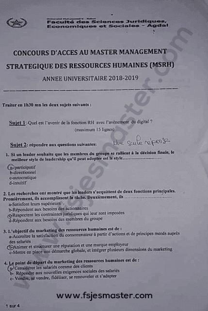 Exemple Concours Master Management Stratégique des Ressources Humaines (MSRH) 2018-2019 - Fsjes Agdal