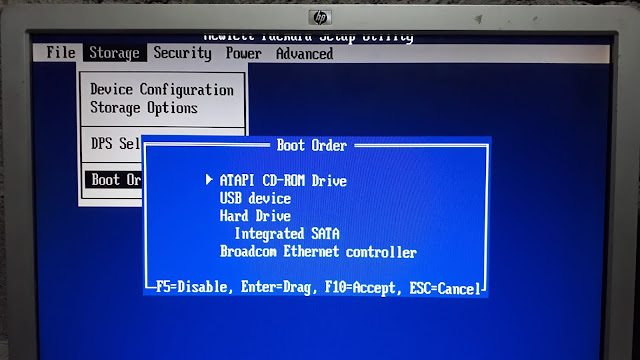 Select Boot order to run Ontract Disk Manager