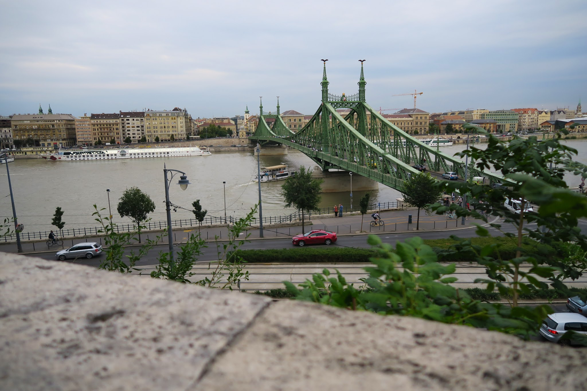Looking across the Danube at Liberty Bridge in Budapest