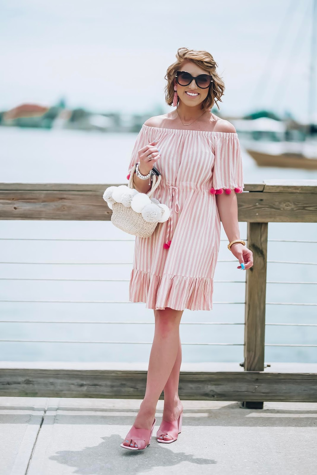 $24 Amazon Pink Stripe Pom Pom Dress + Recent Amazon Finds - Something Delightful Blog