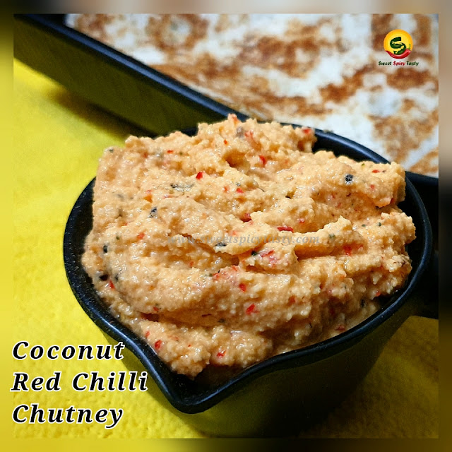 Coconut red chilli chutney pairs well with any South Indian breakfast like Idlis , Dosas , Set Dosa , Paniyaram and others.   The fresh tempering of mustard seeds adds a flavorful kick to the chutney . Coconut red chili chutney , red chilli chutney , coconut chutney , Tamil Nadu style red chilli coconut chutney