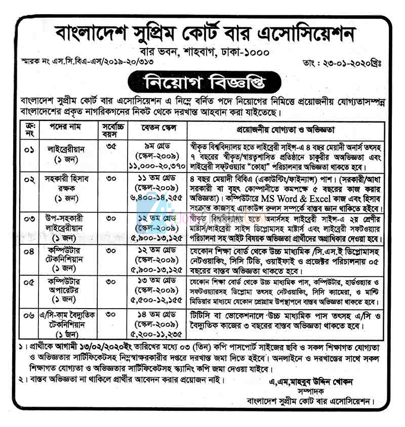 বাংলাদেশ সুপ্রীম কোর্টের নিয়োগ বিজ্ঞপ্তি  ২০২০-Bangladesh Supreme Court Job Circular 2020