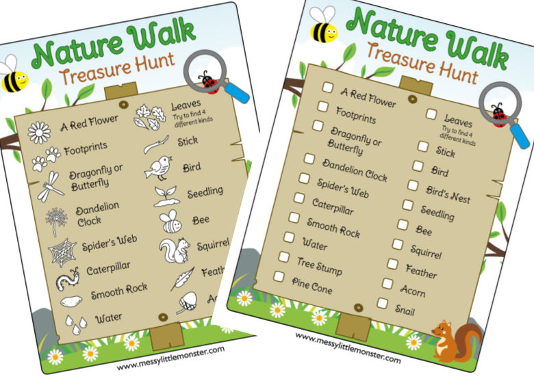 Nature walk scavenger hunts