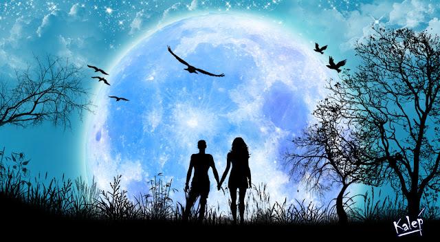 Imagen de una pareja tomada de la mano bajo un cielo colmado de una gran luna llena