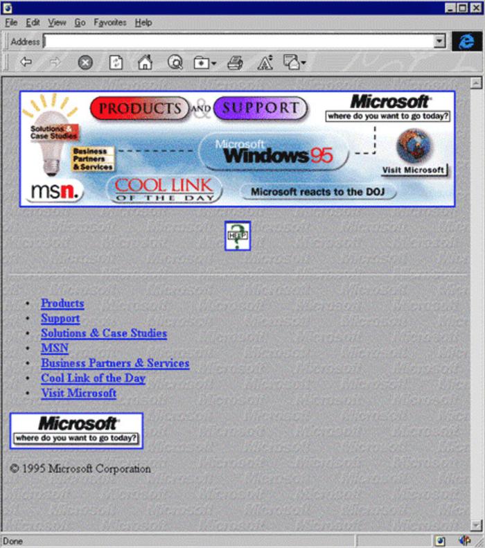 homepage sito microsoft nel 1995