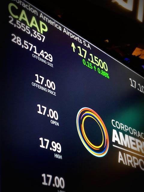 Corporación América $CAAP salió a cotizar hoy en en Wall Street