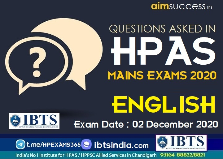 English Questions Asked in HAS/HPAS MAINS Exam 02 December 2020