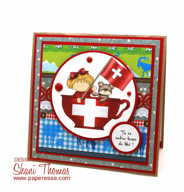 Switzerland Cup of Tea birthday card, by Paperesse.