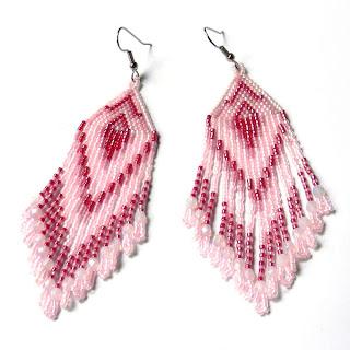 купить нежно розовые серьги из бисера  авторские украшения из бисера купить