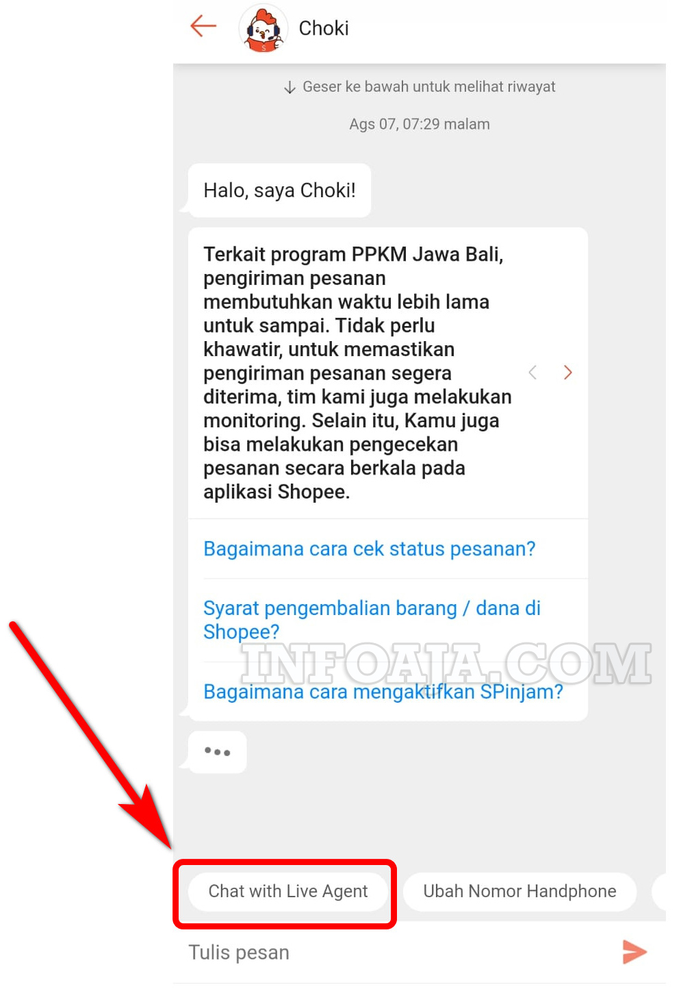 chat with live agent