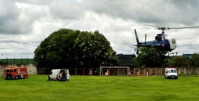 Roncador: Helicóptero do SAMU é acionado para socorrer motociclista ferido em acidente