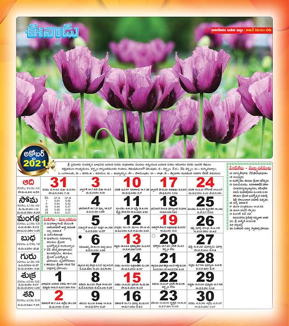 Eenadu Telugu Calendar October 2021