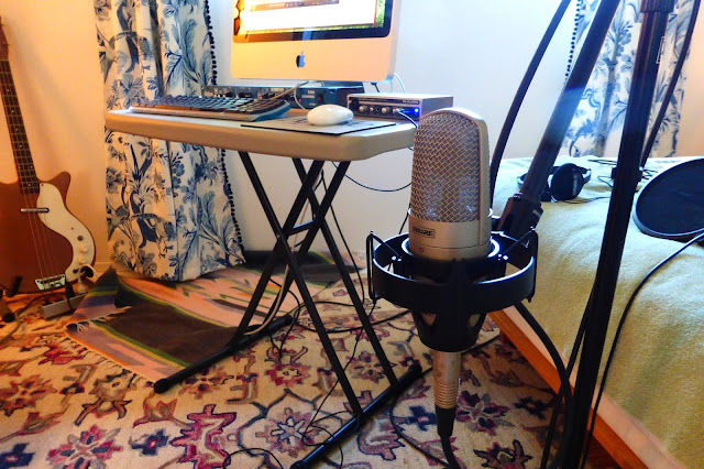"economy recording, bedroom studio, cheap, Jimmy Clifford, Jim Clifford, James Aoyama, Shure KSM27, large diaphragm condenser, 1"" diaphragm, microphone, mic, obsolete, 2007 iMac, Bellari, RP503, Tube Channel, channel strip, M-Audio Firewire Solo, interface, Danelectro bass,"