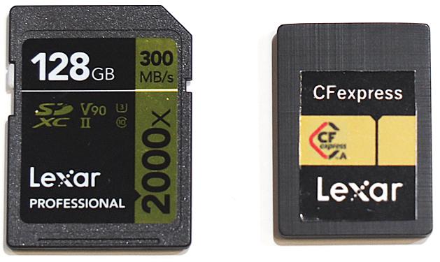 Сравнение габаритов карт памяти SD и CFexpress Type A