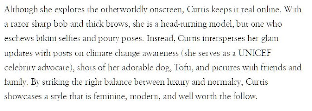 By striking the right balance between luxury and normalcy, Curtis showcases a style that is feminine, modern, and well worth the follow.