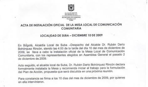 Acta de instalación 2009