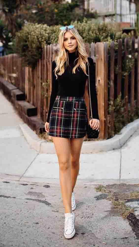 7 ideias de looks estilosos com saia xadrez