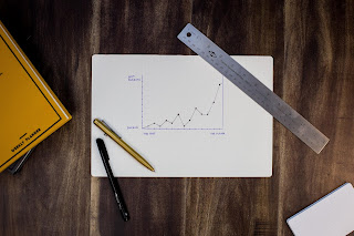 Charting goals and progress - pen and ruler with graph on paper