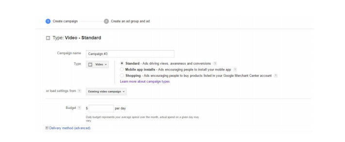 Youtube ads for CPA Offers:Creating the Ad group and Ad