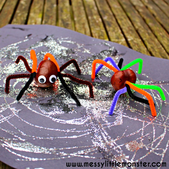 Simple conker spider craft idea for kids.