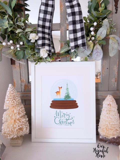 white bottle brush trees Christmas printable white framed wall art