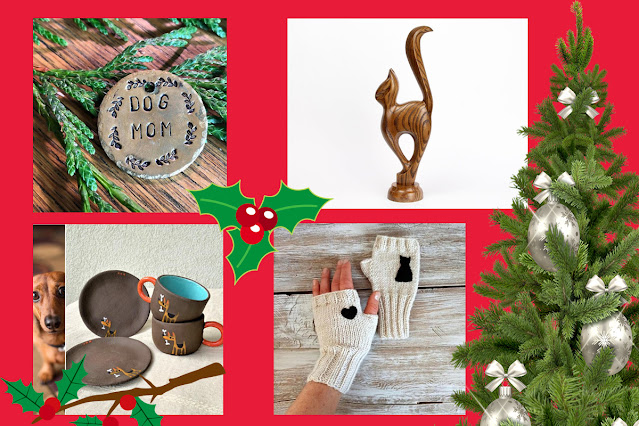Artisan gift guide for dog and cat lovers. Pictured: hand-stamped dog mom keychain, wooden cat statue, gloves with cat on, espresso cups with dog on
